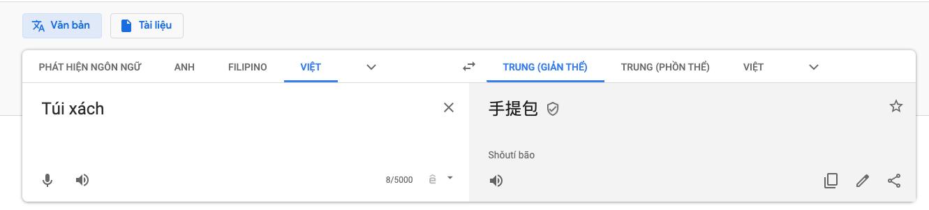 Dùng Google dịch để dịch từ tương ứng sang tiếng Trung Quốc